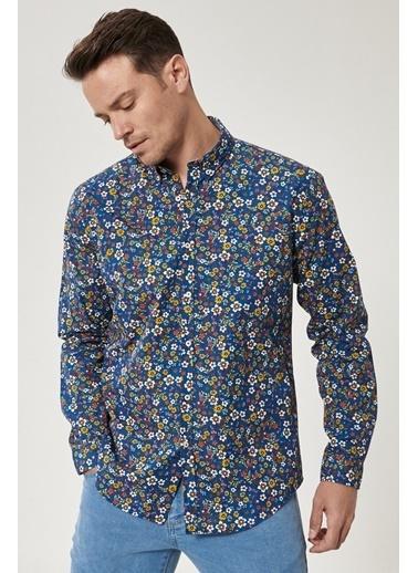 AC&Co / Altınyıldız Classics Tailored Slim Fit Düğmeli Yaka Baskılı %100 Koton Gömlek 4A2021100186 Mavi